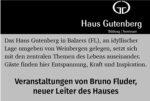 Haus Gutenberg, Balzers: Veranstaltungen von Bruno Flunder