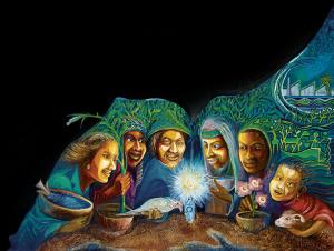 Die Menschheitsfamilie hat sich versammelt.:  Hungertuch 2015, gestaltet vom  nigerianischen Künstler Tony Nwachukwu.
