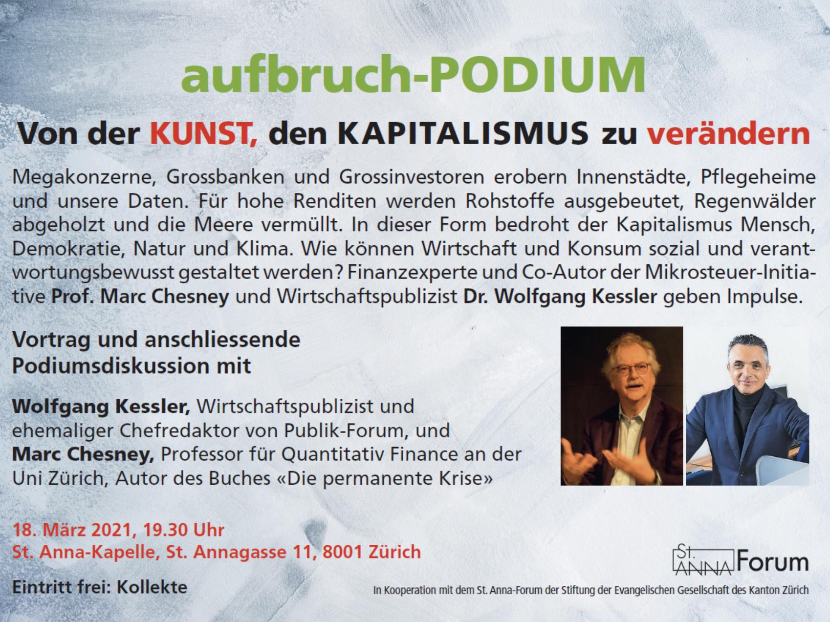 Von der KUNST, den KAPITALISMUS zu verändern @ St. Anna-Kapelle, Zürich